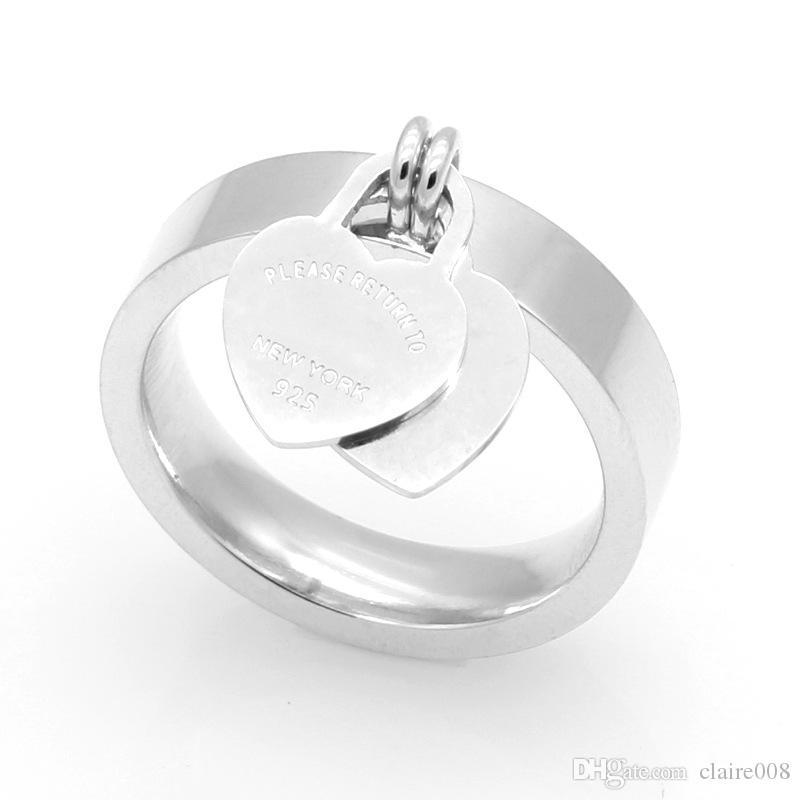 Moda jóias 316L titanium banhado a ouro em forma de coração anel T carta letras duplo anel de coração anel feminino para a mulher