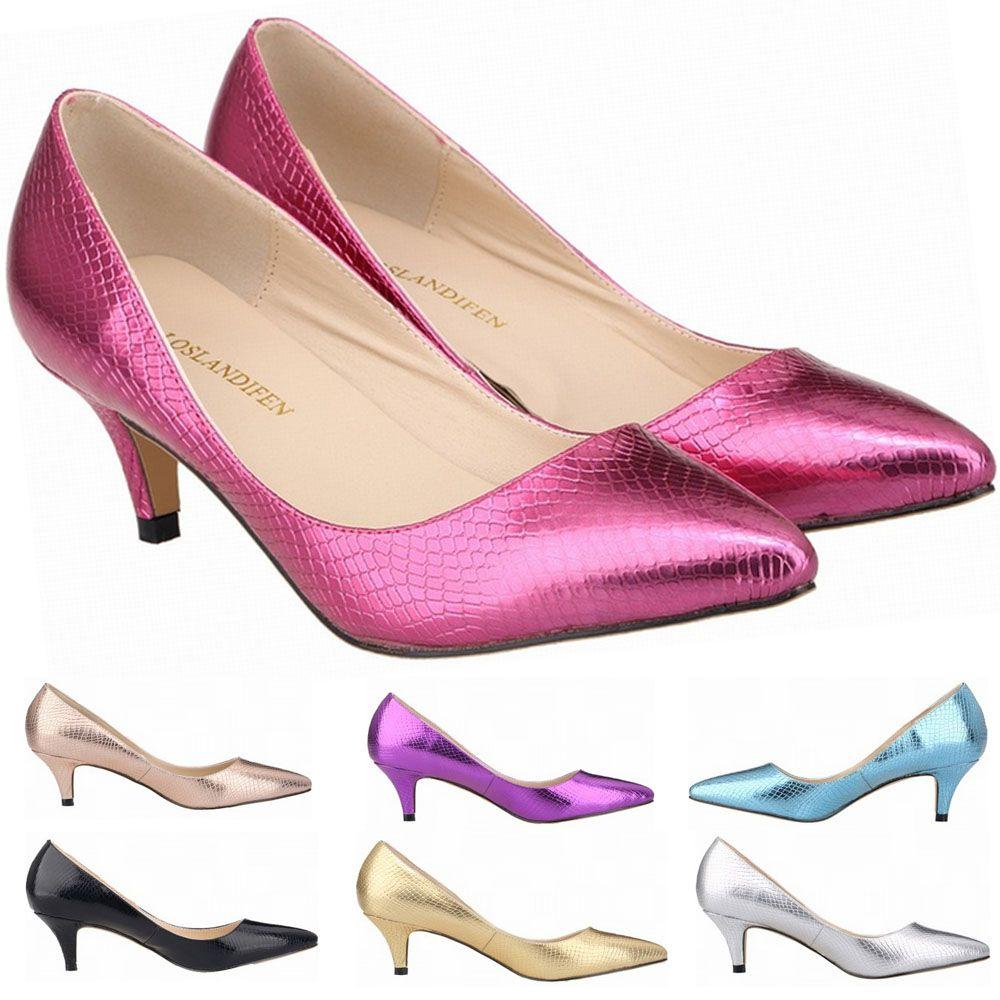 Women Sexy Pointed Toe Crocodile Pattern Low Heels Women Pumps 6cm ... 1abd654564