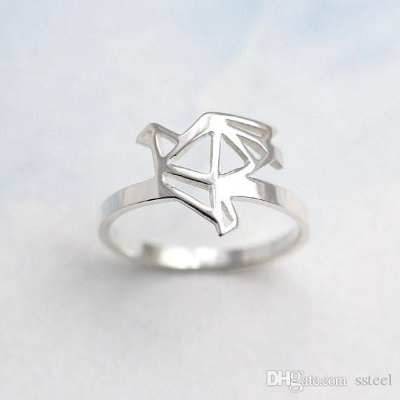 Gold/Silver Minimalist Outline Pigeon Ring Unique Design Swallow Flying Bird Band Ring Jewelry Accessory For Women