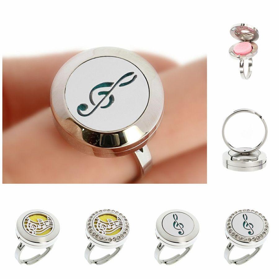Rhinestone Open Cuff Diffuser Locket Ring 20mm Essential Oils Aromatherapy Diffuser Locket Ring of Free Pads
