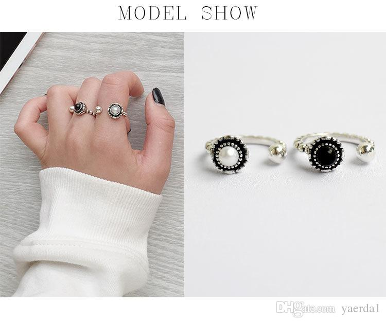 2018 Korean S925 sterling silver original personality art to do the old bead open female ring gold chain necklace jewelry silicone bracelets