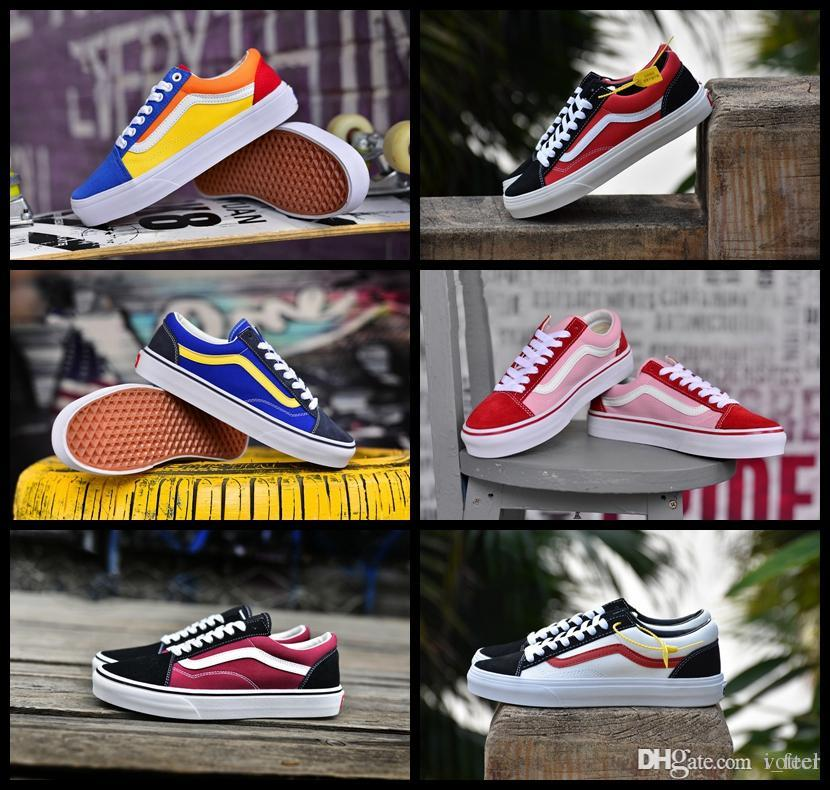 2018 New VANSES Old Skool Classic Canvas Casual Style 36 Running Sneakers  Best Quality Colorful Men Women Skateboarding Designer Chausseures Pink  Shoes ... 5e9dd1f8f
