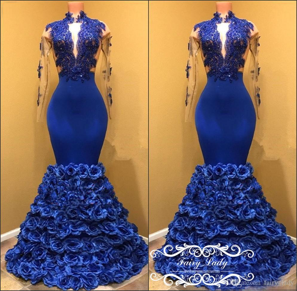 c7ba97bf82 Royal Blue Rose Flowers Long Sleeves Mermaid Prom Dresses Sheer Lace  Illusion Bodice 2018 2k17 Sexy Keyhole Neck Pageant Dress Evening Gowns  Consignment ...