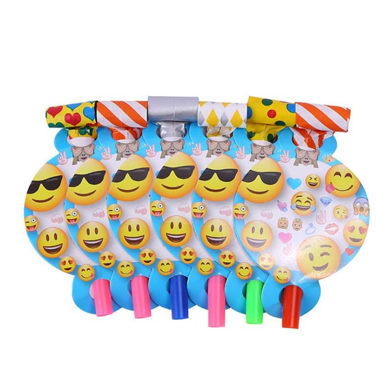 Kawaii Funny Emoji Theme Face Blow Out For Children Birthday Party Decoration Supplies Blowout Kids Favors Horn Noise Maker Irritating From