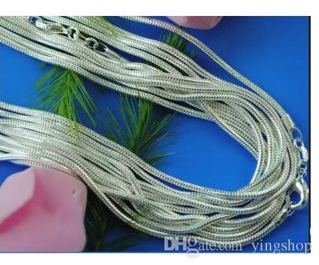 Promotion! Wholesale 925 silver 1mm necklace, 925 sterling silver fashionable and beautiful jewelry Snake chains