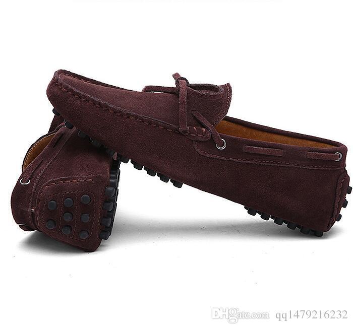 Büyük Boy 38-46 Inek Süet Deri Erkekler Flats 2018 Yeni Erkekler Rahat Ayakkabılar Yüksek Kalite Erkekler Loafer'lar Moccasin Sürüş a7