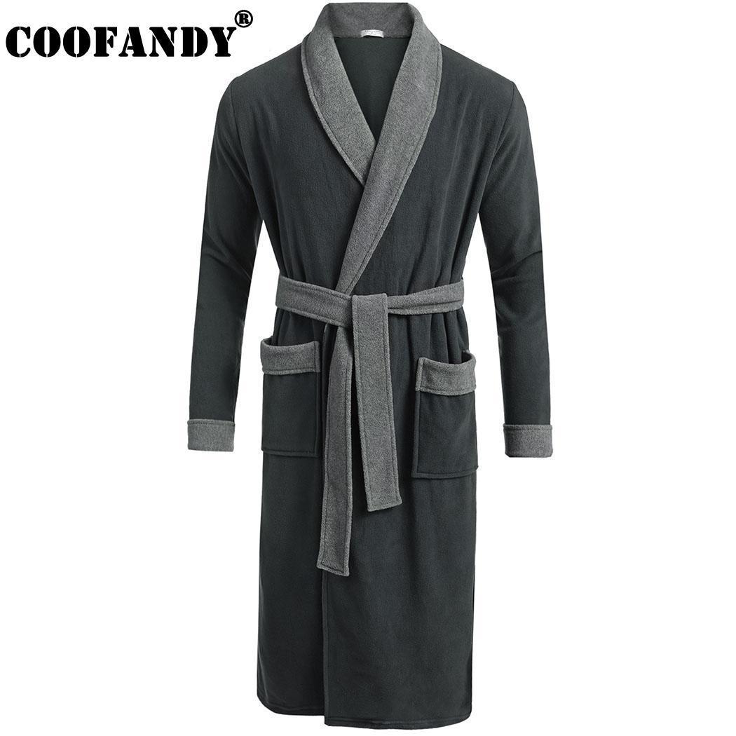 Men Fleece Autumn Bathrobe Sleeve Sleepwear Belt Long Knee Spring Pockets  Shawl Robe Length Patchwork Winter Wrap with Collar Online with  43.1 Piece  on ... ea43aadd0