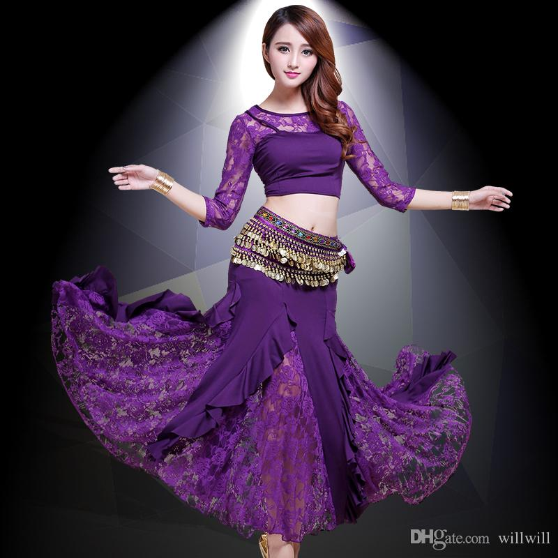 2019 NEW Indian Dress Belly Dance Costumes Belly Dancing Skirt Bollywood  Practice Permance Stage Wear Top 6a7f8092a4f3