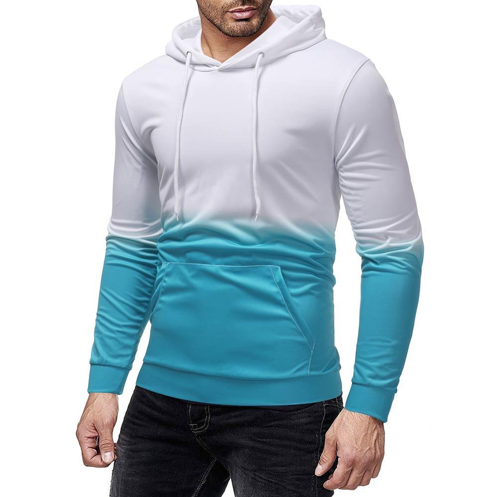 Womens Gradient Colour Hoodie Sweatshirt Long Sleeve Hooded Pullover Tops Blouse Loose Casual Tops