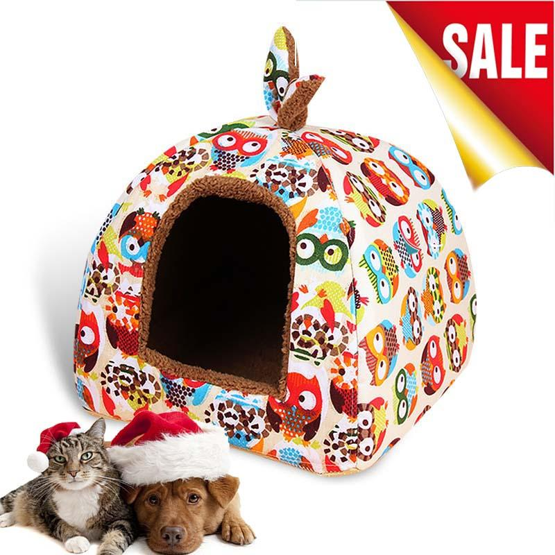 Supplies Beds/Mats Hot Fleece Soft Pet Yurt Home Bed Puppy Dog Kennel Pet Bed House For Dog Cat Small