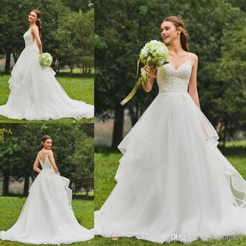 3f60e8f2ca Compre 2018 Vestidos De Novia Estilo Princesa Sexy Apliques De Espagueti  Con Cuentas Vestidos De Novia Brillantes Lentejuelas Barrer Vestido De Boda  Del ...