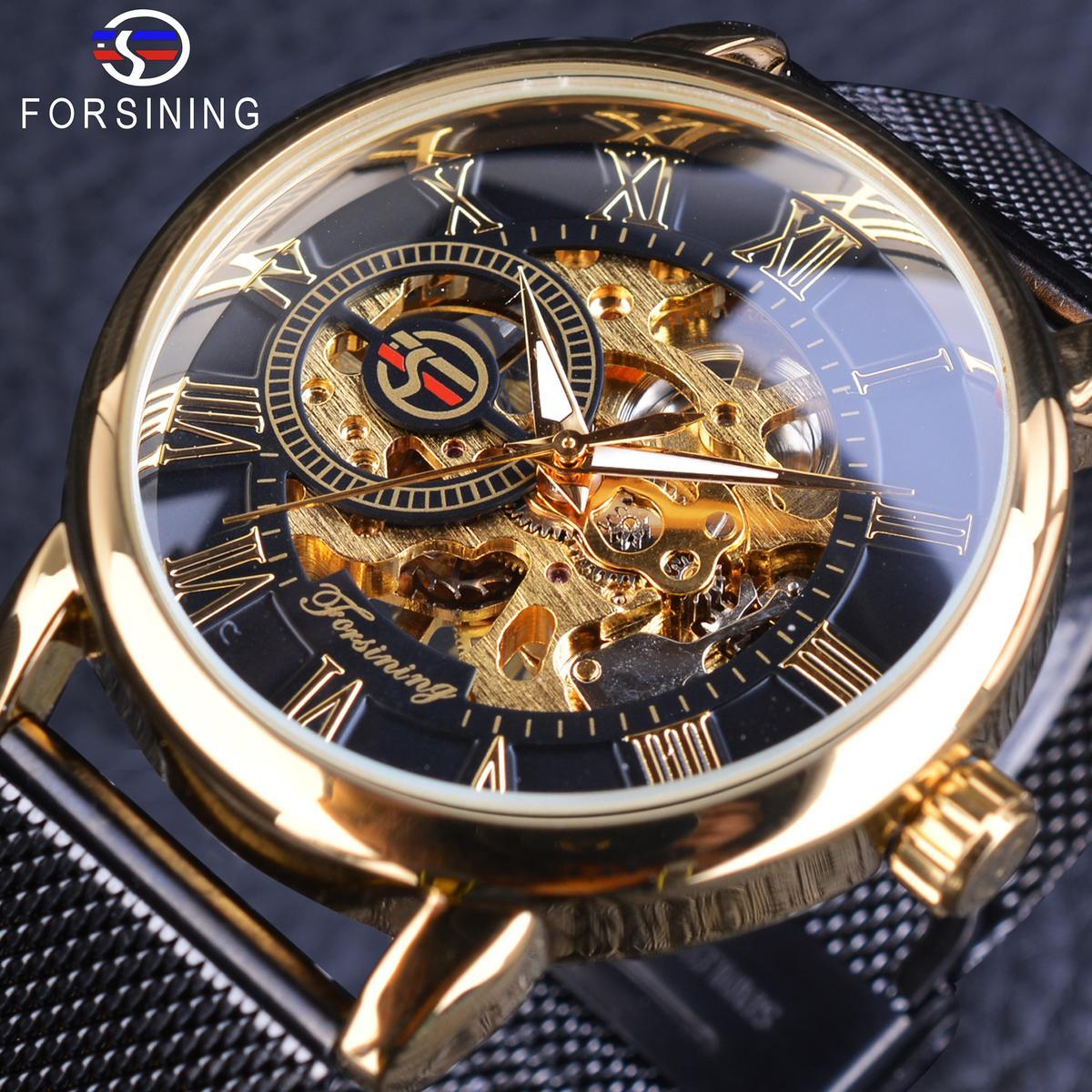 ec97257b1d0 Compre Forsining 2018 Retro Dourado 3D Número Romano Malha Negra Banda Homens  Transparente Esqueleto Mecânico Relógio De Luxo A Céu Aberto Relógio De  Pulso ...