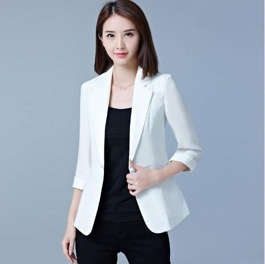 5f47fbe2 Mujer Primavera Otoño Blazers y abrigos cortos Oficina Verano Blazer Mujer  Casual Blazer de manga corta Mujer Rojo Rosa Negro Blanco