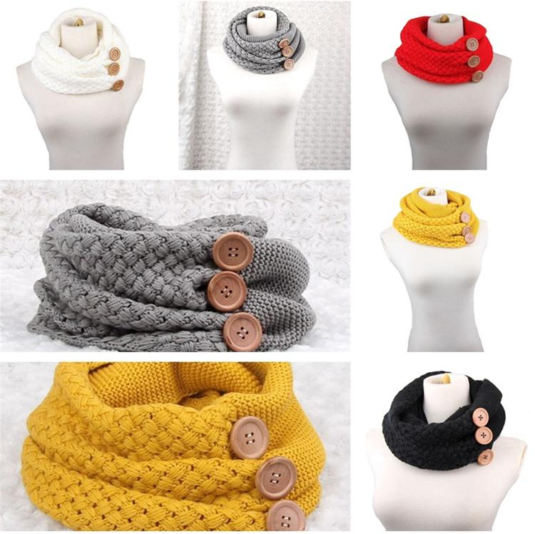 New Style Winter Warm Knits Ring Scarves Luxury Women Solid Color