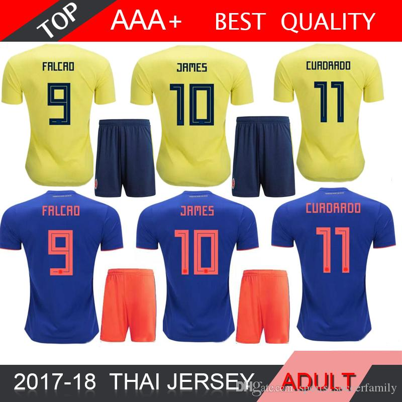 2019 James 2018 World Cup Colombia Adults Soccer Sets Rodriguez Falcao  Cuadrado TEO BACCA SANCHEZ Home Away Kit Colombia Jersey Football SHIRT From  ... 06205d396