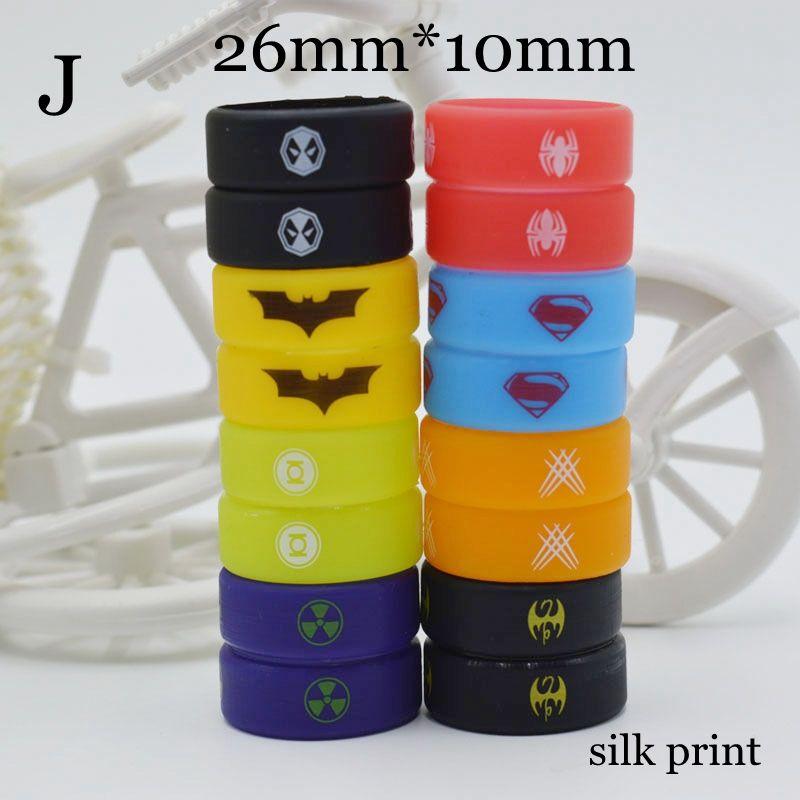 10 Styles Silicon band beauty ring silicone superhero luminous engraved vape band 22mm 26mm for mech mods rta rda atomizer decorative vapor