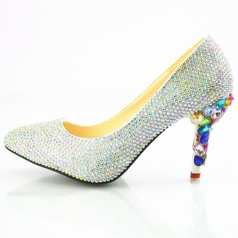 b53e3a5003c New Beautiful Crystal Wedding Shoes Women Pumps Pointed Toe Multi Rhinestone  L High Heels Wedding Shoes Handmade Lady Dress Heels Plus Size Birkenstock  ...