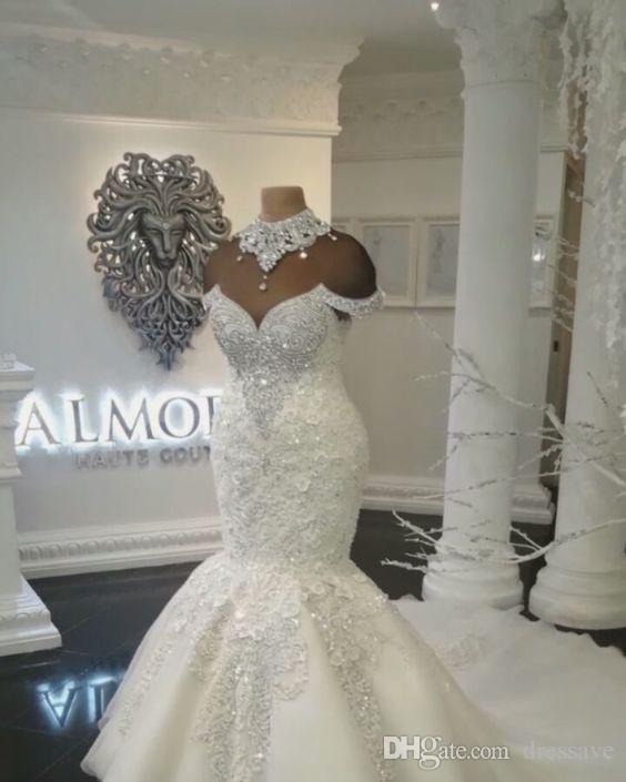 Grosshandel Neue Designer Luxus Dubai Arabisch Mermaid Brautkleider