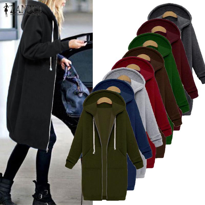f192afcec84 2018 ZANZEA Women 2018 Autumn Winter Casual Long Hoodies Sweatshirt Coat  Pockets Zip Up Outerwear Hooded Jacket Plus Size Tops Y18103101 From  Zhengrui04