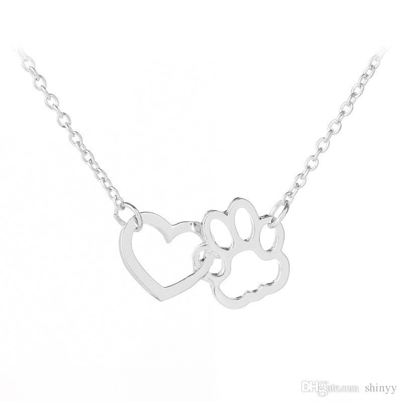 Colar de moda doce cão pata coração pingente colares de liga de ouro de prata curto colar para presente das mulheres