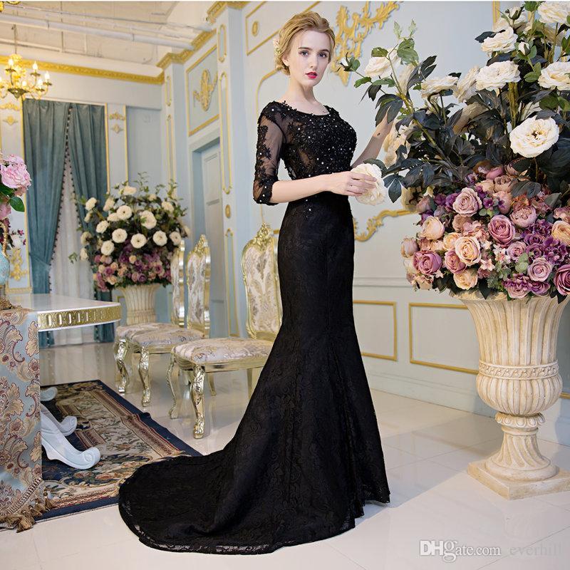 Elegante Spitze Schwarz Mermaid Pailletten Abendkleider mit Halbarm Lange Perlen Sexy Sheer Party Kleider Formelle Kleidung Avondjurken Gala Jurken