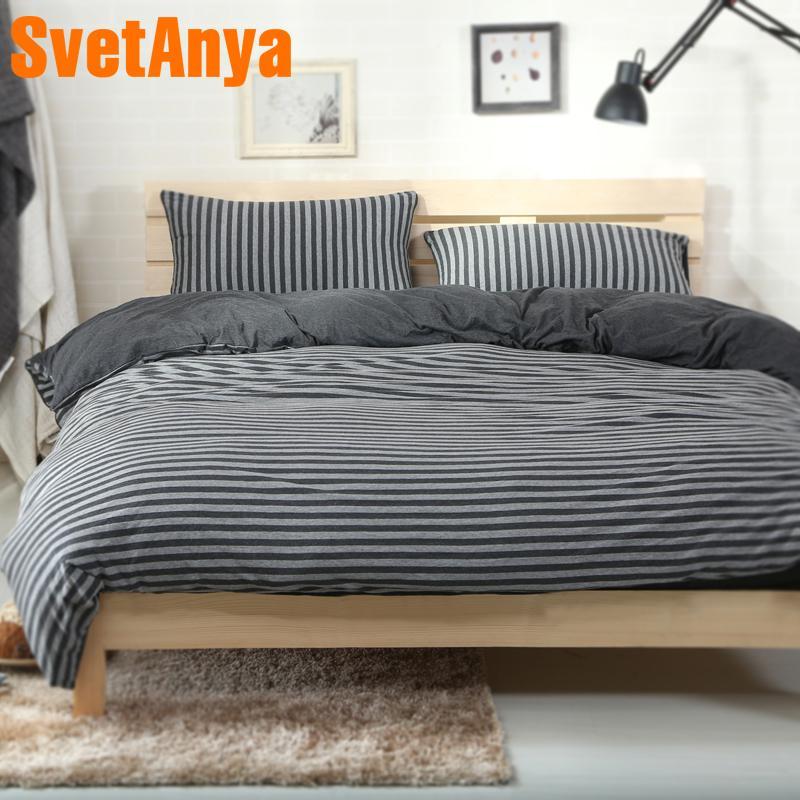 Svetanya Gestrickte Baumwolle Bettwäsche Schwarz Graue Streifen Printed Home Bettwäsche Sets Ausgestattet Oder Flache Bedheet Bettbezug Sets