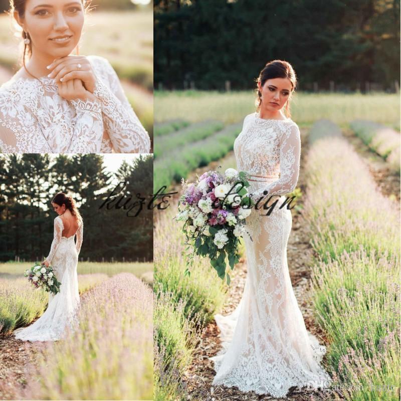 Modesto mangas largas vestidos de novia de sirena 2018 estilo rural de encaje sin respaldo vestidos de boda tren de la corte de playa vestido de novia vestido de novia