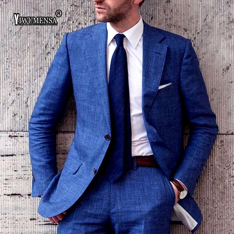 yiwumensa Designs Navy Blue Linen Fromal Men Suit Slim Fit 2 Piece Tuxedo Blazer Groom Prom Suits Masculino Jacket+Pants 2019
