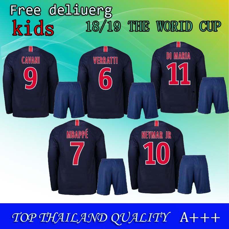 check out 86034 35710 7# MBAPPE 2019 Neymar jr home away kids kits soccer jersey 18 19 Di Maria  CAVANI Football jerseys boys maillot kit