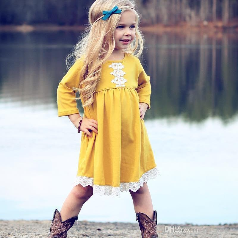 6b061db74 2019 Little Baby Girls Dresses Boutique Long Sleeve Fall Dress Lace  Patchwork Casual Dresses For Kids Toddler Solid Yellow Dress From  Gift_master, ...