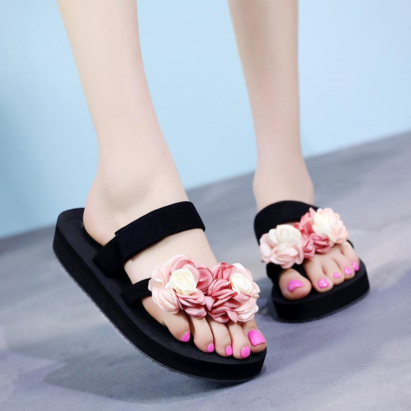 c694dbce418 Hot Sale Soild Wedge Platform Flip Flops Woman Shoes 2017 Women Summer  Shoes High Heels Beach Sandals Ladies Thick High Pantufas Dress Shoes Wedge  Shoes ...
