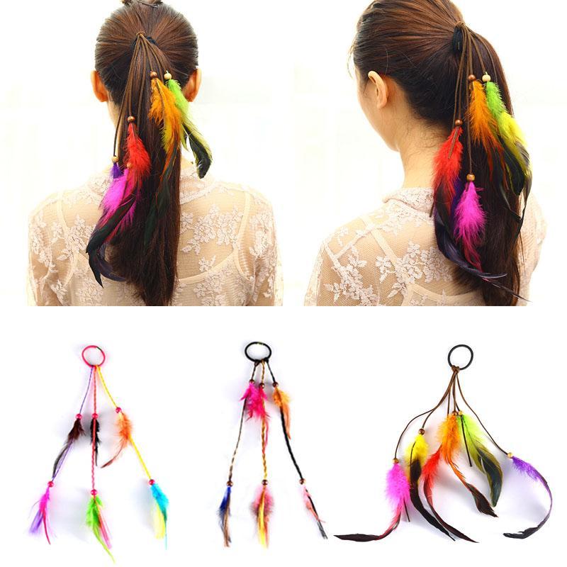 Bohemian Scrunchie Elastic Hair Bands Women Girl Colorful Feather Headband  Weaving Hair Accessories Rope Gum Rubber Band Babies Hair Accessories  Wedding ... da61920c4f6