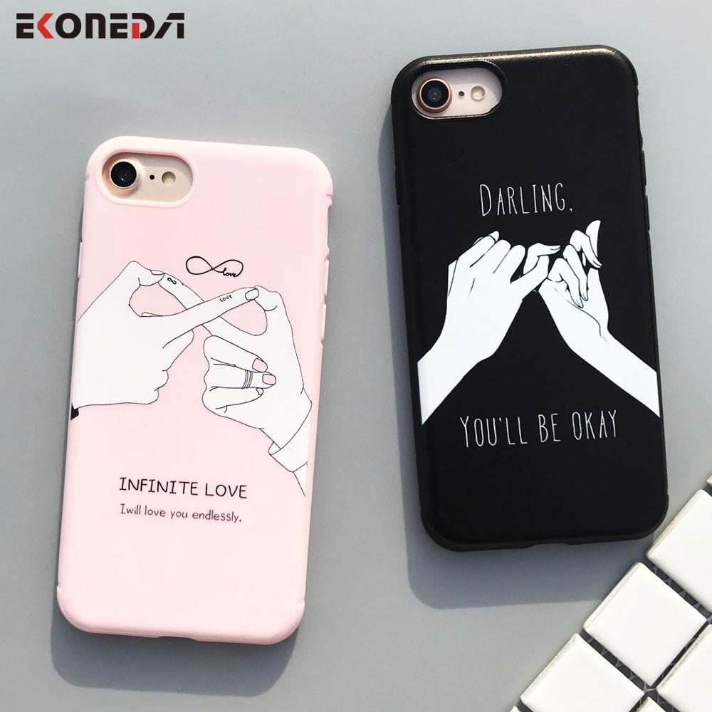 promo code 75486 0a441 Funny Words Case For iPhone 6 6S 6Plus Case Couples Cover For iPhone 7  7Plus 8Plus X Love Darling For iPhone 6S Case