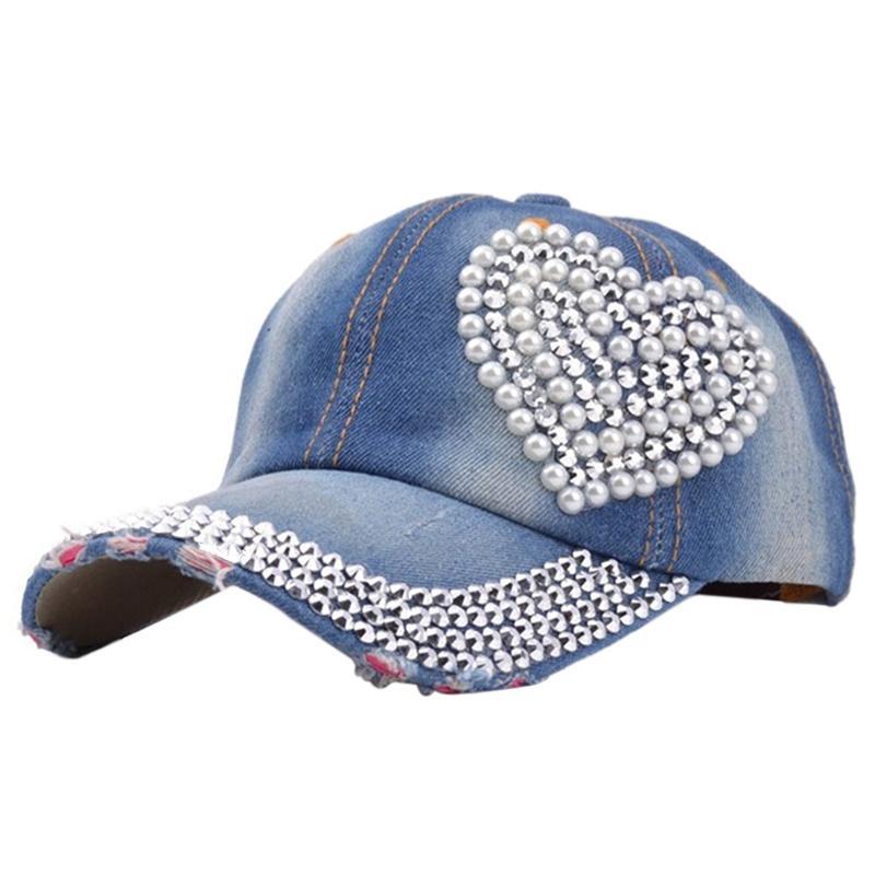 d400aeb9cdecd0 Women's Rhinestone Studded Baseball Cap Visor Denim Tennis Hats Dark blue