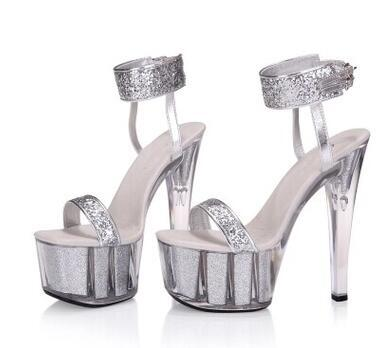 279253a2c Sexy Red Bling Platform High Heel Sandals For Women Silvery Super High  Crystal Spike Heel Shoes Wedding Shoes Party Shoes Platform Heels Black  Sandals From ...