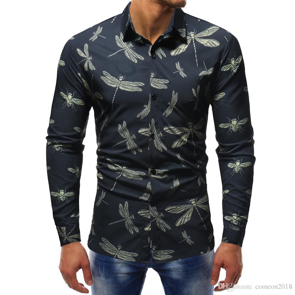 Hombre De Camisas La Vestir Libélula Calidad Diseñador 2018 Delgados Ocasionales Para Completa Alta Impresión Manga Los Camisetas O8wN0PkXn