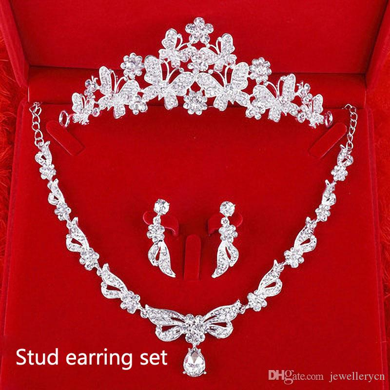 Luxury Crystal Inlay Butterfly Tiara Necklace Sets Bridal Jewelry Set for Women Wedding Jewelry Hair Band Crown Headband TL0012