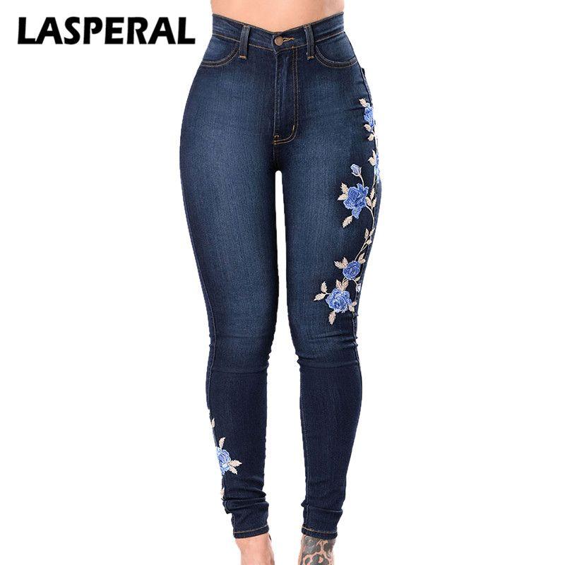 Acheter Fleur Brode Jeans Pantalon Femmes Elastique Maman Jean
