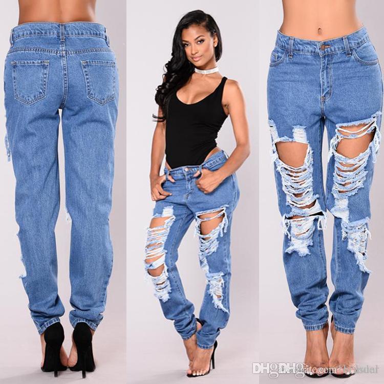 bddc07eb8 Pantalones vaqueros rectos de los pantalones vaqueros de las mujeres del  verano pantalones vaqueros rectos azules de la moda de los pantalones largos