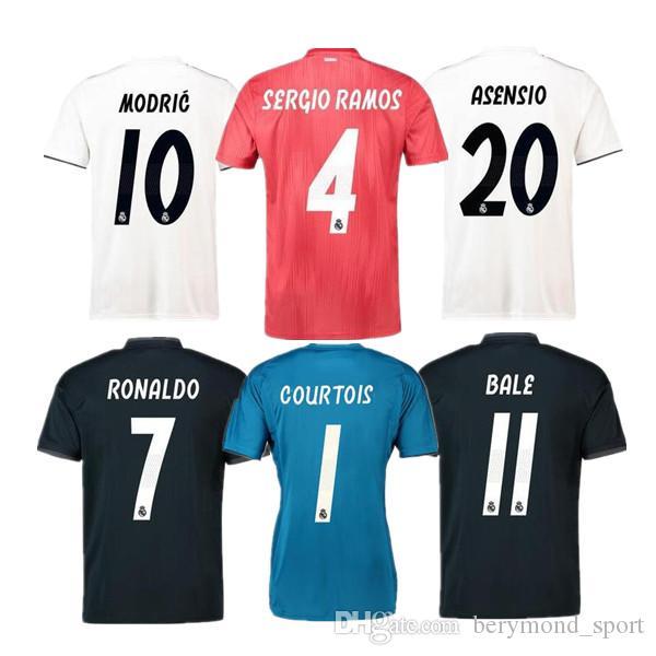 3ee9fff64 2018 2019 Real Madrid Soccer Jersey 18 19 MARCELO BALE ASENSIO NAVAS ...