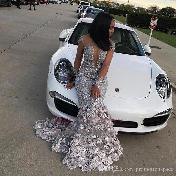 Silver 3D Floral Flowers Lace Long Sleeves Prom Dresses 2018 Jewel Neck Sheer Hollow Out African Plus Size Black girls Evening Gowns