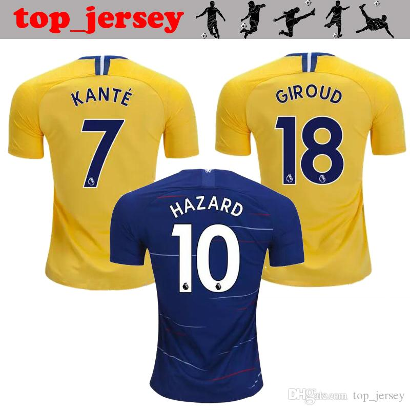 a482fe8a06 New HAZARD Chelsea Soccer Jersey 18 19 MORATA Home Blue Away Yellow ...