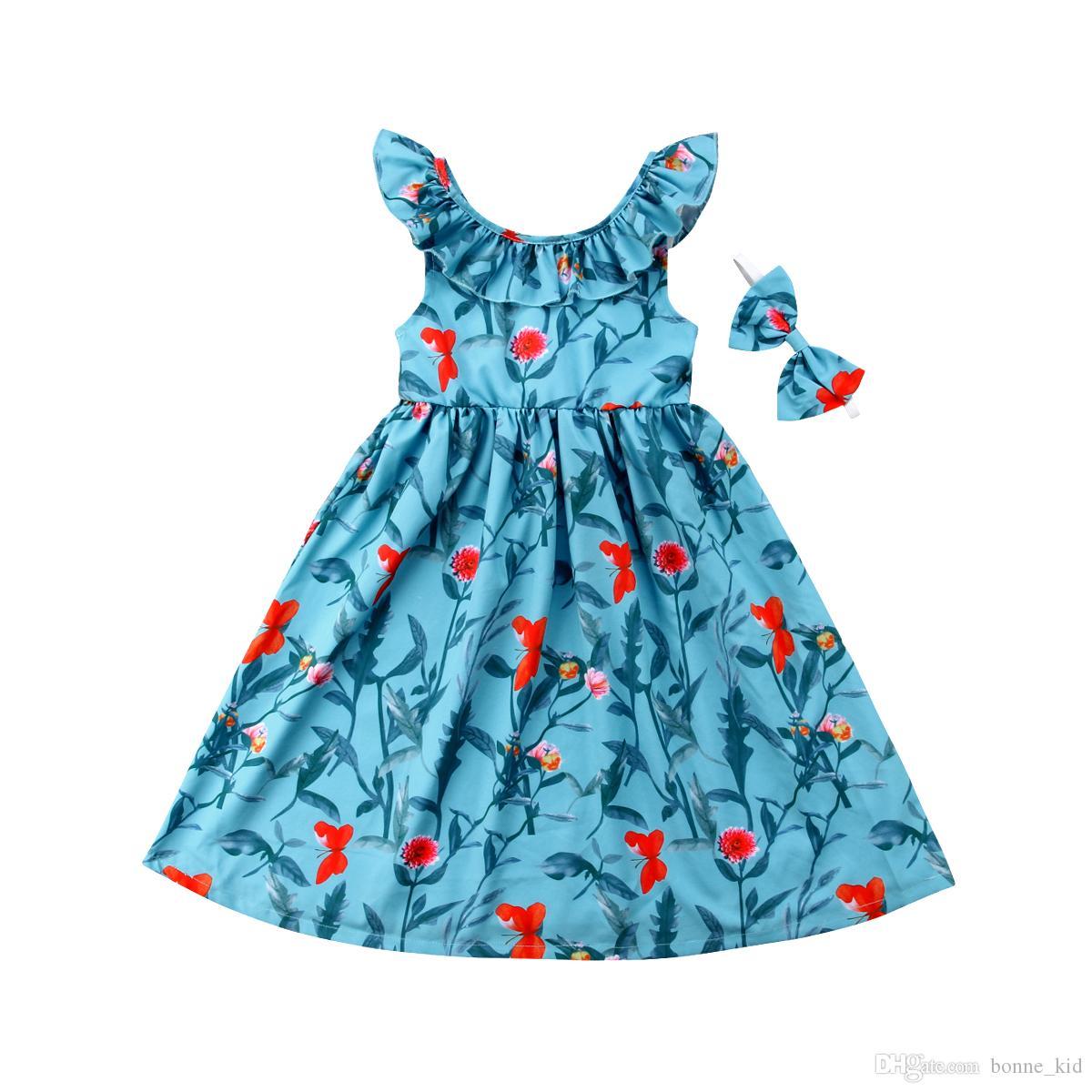 94d8cd202 2019 Summer Kids Girls Blue Floral Backless Dresses Sleeveless ...