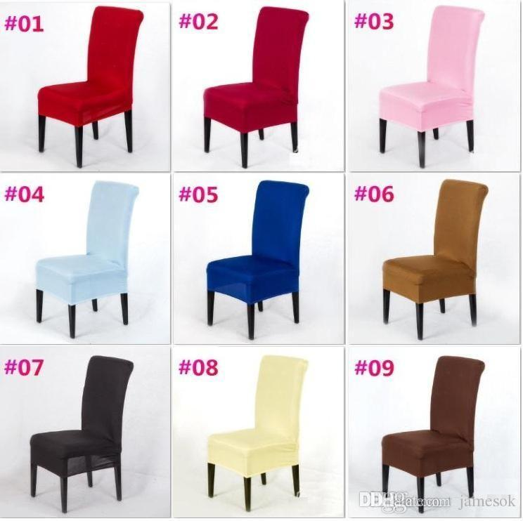 20 Katı Renkler Polyester Spandex Yemek Sandalye Düğün Parti Sandalye Kapak Kapakları Kahverengi Yemek Sandalye Koltuk Kapakları c175