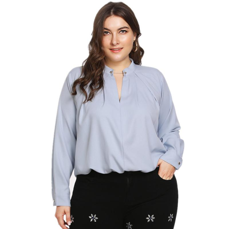 3d6580c5e76b8 2019 Plus Size 5XL Womens Tops And Blouses Autumn Chiffon Blouse Pearl Shirt  Women Tops Ladies Work Wear Office Blusa Feminina Shirts From Vineger