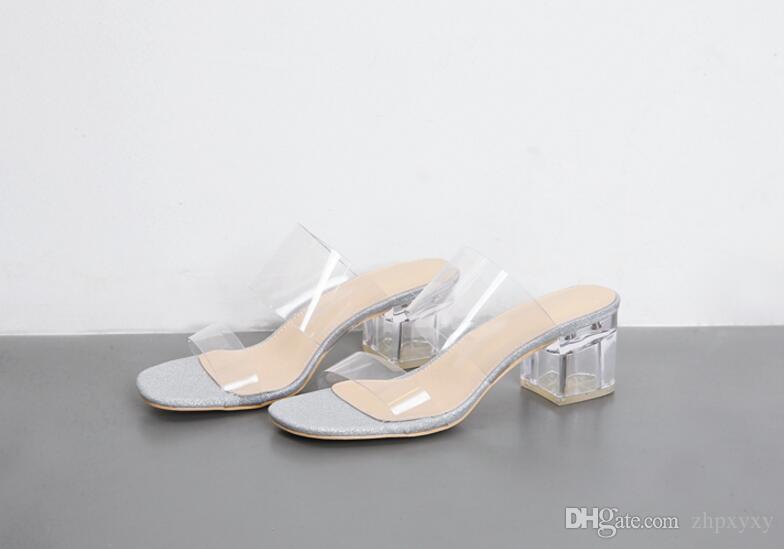 Marke 2018 Neue Kunststoff Frauen Sandalen Dicken Absätzen Kristall Sandalen Flip-Flops Weibliche Sommer Party Schuh Offene spitze Für Frauen 1NX17