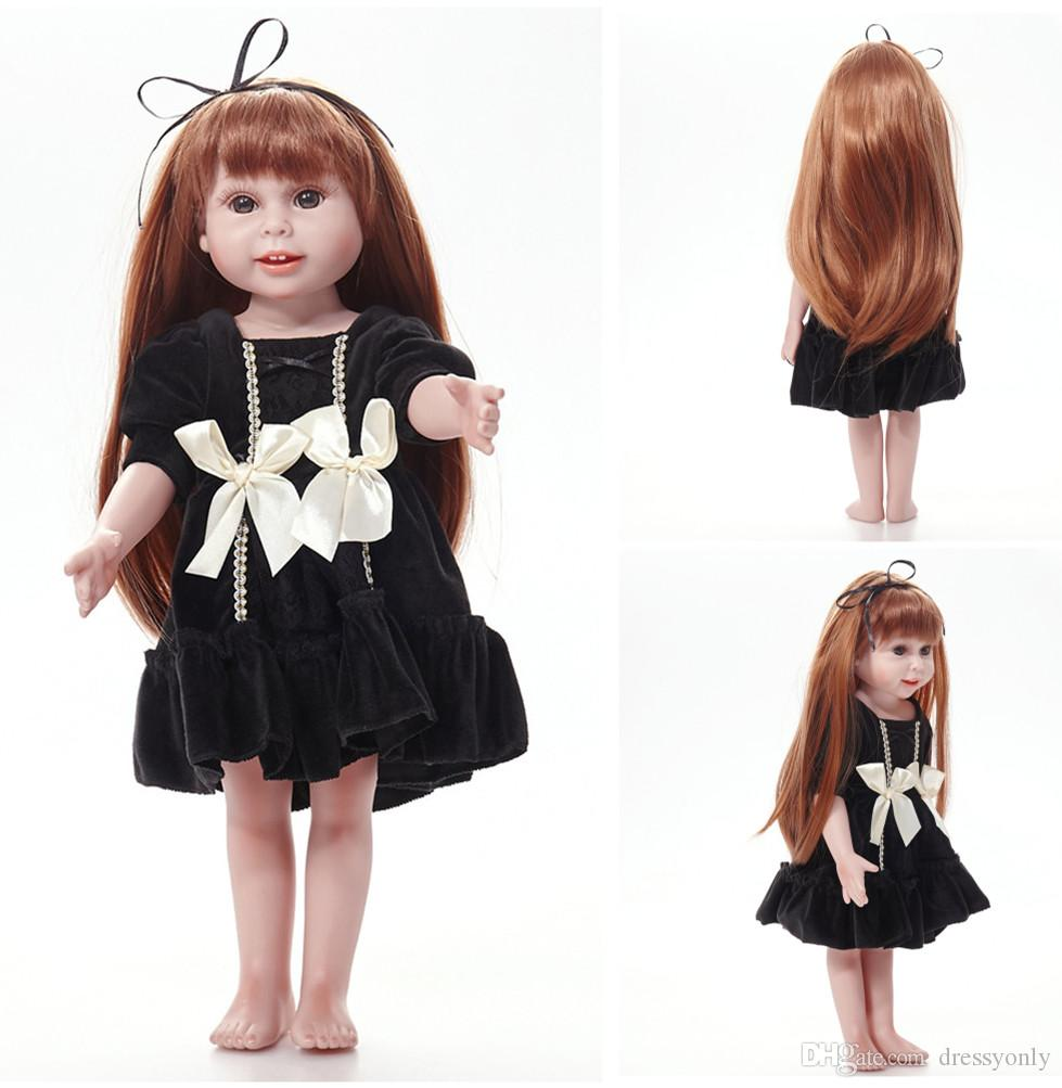 Girls Lifelike Dolls with Long hair Black Dress Children Kids Gifts Birthday Toys Baby Simulation Toys Doll 18 inches UKS37