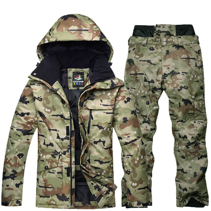Good quality -35 Camouflage snow suit jacket Men ski suit set Special Snowboarding Clothes Waterproof winter costumes black