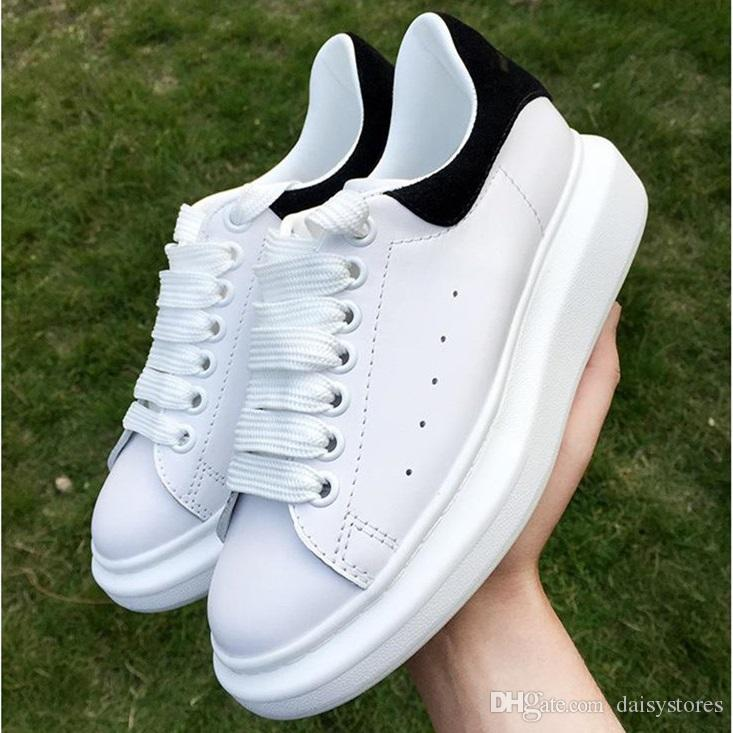 07998624db18 High Quality Mens Womens Fashion Luxury All White Leather Platform Shoes  Flat Designer Lady Black White Sneakers For Women With Box 35 44 Dress Shoes  Wedge ...