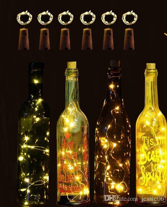 Led Copper Lamp Wire Wine Bottle Cork Battery Operated Micro Fairy String Lights Glow Party Supplies Wedding XMAS Night Club Bar Decoration